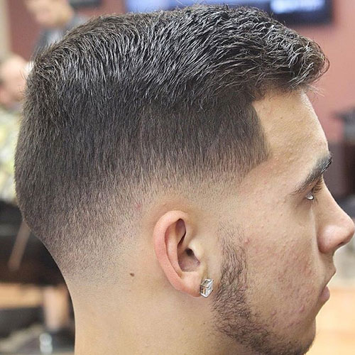 Swept latéral Crew Cut + Low Fade